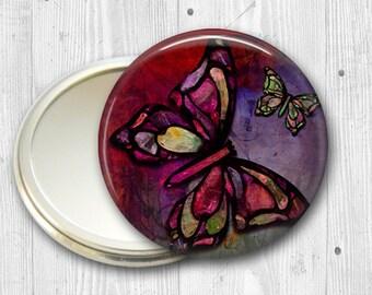 colorful butterfly pocket mirror,  original art hand mirror, mirror for purse, bridesmaid gift  MIR-316