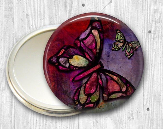 colorful butterfly pocket mirror,  original art hand mirror, mirror for purse, bridesmaid gift, stocking stuffer  MIR-316