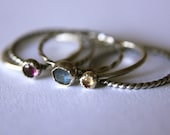 Mixed Set. 3 Stones and 2 Plain Bands Set of 5 Stackable Rings Mix and Match Gemstone Sterling Silver