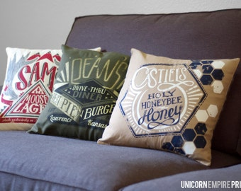 "Supernatural Pillow Covers // Set of three Winchester pillow covers // 16 x 16"" Flannel Backed Pillow covers // Hand Screen Printed"