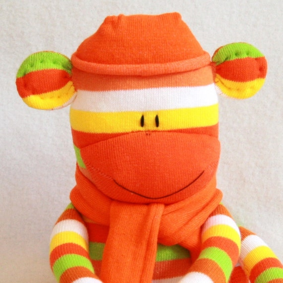Stuffed Animal, Sock Monkey Doll Orange Stripes, Baby Toys