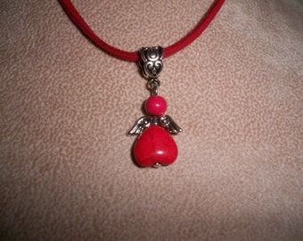 Angel Pendant on a Leather Cords,  5 Cord Colors, by Brendas Beading