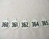 RESERVED FOR LAQUITA Vintage Cow Tags, Metal Numbers, round tags, numbered, black white