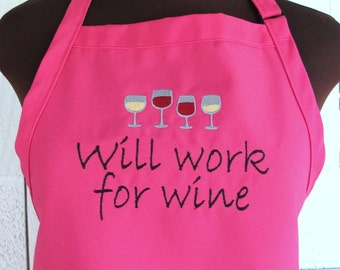 Will work for wine - Embroidered Apron with Wine Glasses - Mother's Day Gift - Apron for Wine Lover