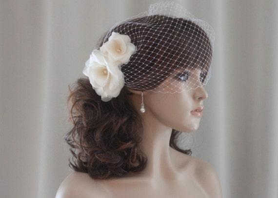 Flower Hair Pins, Silk Organza Flowers, Birdcage Veil, White, Off White, Ivory, Blush Pink, Champagne-Style 207