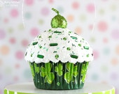 Mini Cupcake Ornament Dark Green Shamrocks - St. Patrick's Day Decoration #CUP161