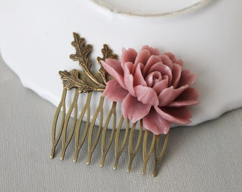Dusty Pink Flower Hair Comb. hair clip.  filigree barrette. hair accessory. vintage wedding