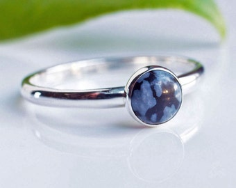 Snowflake Obsidian Stacking Ring in Sterling Silver.