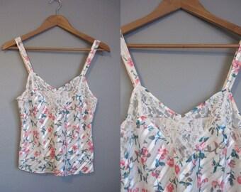 Romantic Camisole Vintage Lingerie Floral Lace 1990s Small