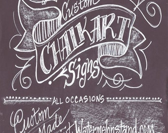 Custom Personalized Original Chalkboard Art Poster on Foamcore