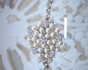 Bridal Headband, Rhinestone and Pearl Bridal Headband, Crystal Wedding Headband, Wedding Bridal Hair Accessories