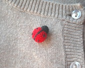 Ladybug Crochet Pin - Tiny Amigurumi Red Ladybird Pin - Animal Brooch