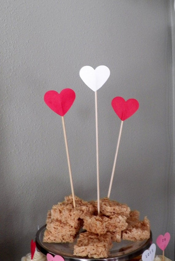 Heart Dessert Topper - choose from white, pink, red, gold and silver