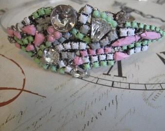 HaRd CaNdY.vintage glass rhinestone repurposed jewelry piece headband