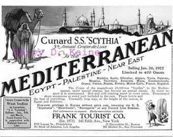 Vintage Mediterranean 1926 travel ad print
