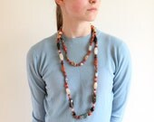 boho necklace - silk strung carnelian jade agate necklace - 60s semi precious stone long strand necklace