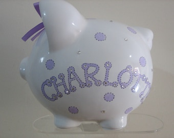 Personalized Large Piggy  Bank Polka Dots and Stripes, lavender  - Baby Showers Christenings, Birthdays