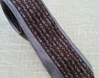 Jagged Rust and Black on Silver Vintage Italian Silk Skinny Necktie