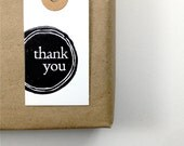 Thank You Tags - Appreciation Gift - White Card Stock - Modern Reverse Circle