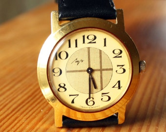 Belarus mechanical wristwatch Luch vintage wristwatch yellow watch, gold color