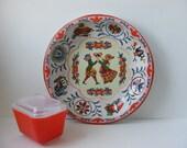 Vintage Pennsylvania Dutch Round Tin Tray Daher Ware England 1971