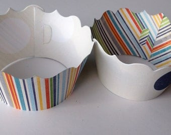 Multi Colored Stripe and Large Dot Cupcake wrappers SET of 12
