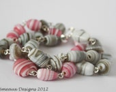 SALE: Pink and grey candy stripe  OOAK multi strand bracelet