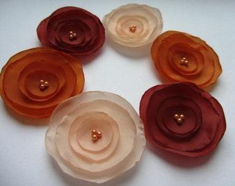 Fabric flowers, Silk flowers, Wholesale flowers, Coral flowers, Orange flowers, Burnt flowers, Singed flowers