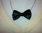 New Years Black Bowtie Necklace
