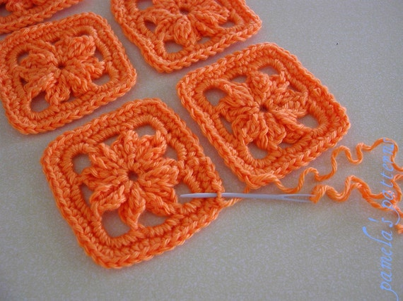 1 Inch Crochet Flower Pattern : Crochet Granny Square Flower 3 8 cm Granny Square