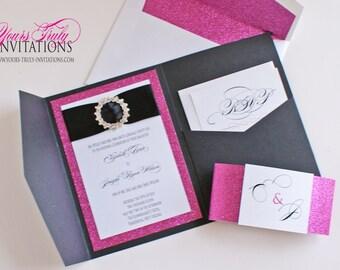 Sample - Glamorous Pink Glitter and Black Shimmer Crystal Buckle Pocket Folder Wedding Invitation Suite  or Bat Mitzvah Invitation shown