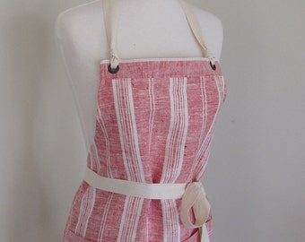 Full Apron Woman Lithuanian  Linen Apron Red  Stripe LInen Kitchen Apron Cook Apron