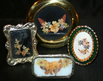 4 Vintage Real Pressed  Violet Pansy Flower Frames Brass, Silver and Enamel Plus Jewelry Brooch pin