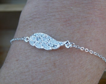 50% off this item, enter LOVE99 at checkout, Wing Charm Bracelet with Clear Rhinestones, Wing Bracelet, Wing, Charm Bracelet, Christmas Gift