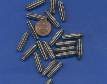 20 Bone 25mm  Beads, Brown with White Stripes, Number 292