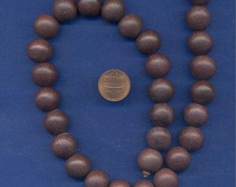 1 Strand of Wood Beads, 15mm, Dark Brown