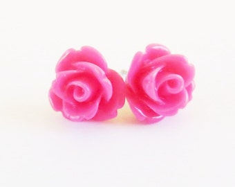 Magenta Rose Earrings- Surgical Steel- 10mmBlack Friday Sale 20% Off