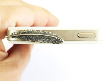 Small Feather Cell & iPhone Dust Plug Cellphone/ iPhone Accessories- Sterling Silver Ox