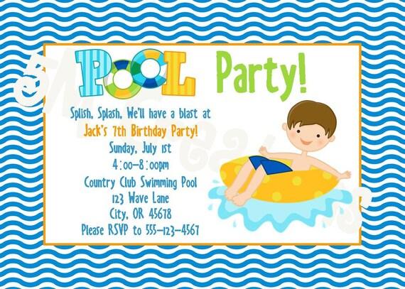 Pool Party Invitation Pool Party Invite Pool Party Printables – Pool Birthday Party Invitations