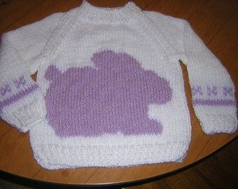 Handknitted Crew Neck Girls Pullover Sweater/Bunny