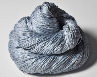 Blue Platinum - Silk Lace Yarn - knotty skein