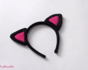 Black and Hot Pink Kitty Ears Headband