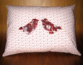 Love Birds Pillow - I Love You - Red Bird Applique - Throw Pillow - Red and White - Spring Birds Pillow