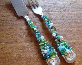 Beaded Silverware - Appetizer Set - Aqua Blue and Green  - Hostess Gift - Cheese Spreader - Pick Your Color