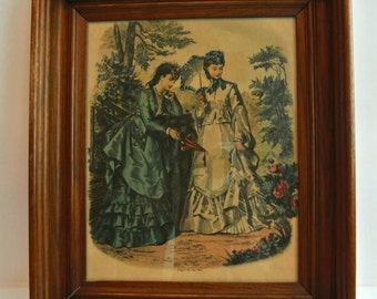 2-Art Deco-French Fashion Print Lithographs-Wooden Frame