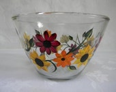 Bowl-Hand painted bowl-painted Sunflowers and Mums