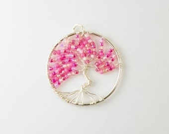 Tree Of Life Necklace  /  Rose Pink  /    Pendant Necklace / Cherry Blossom / Sterling Silver