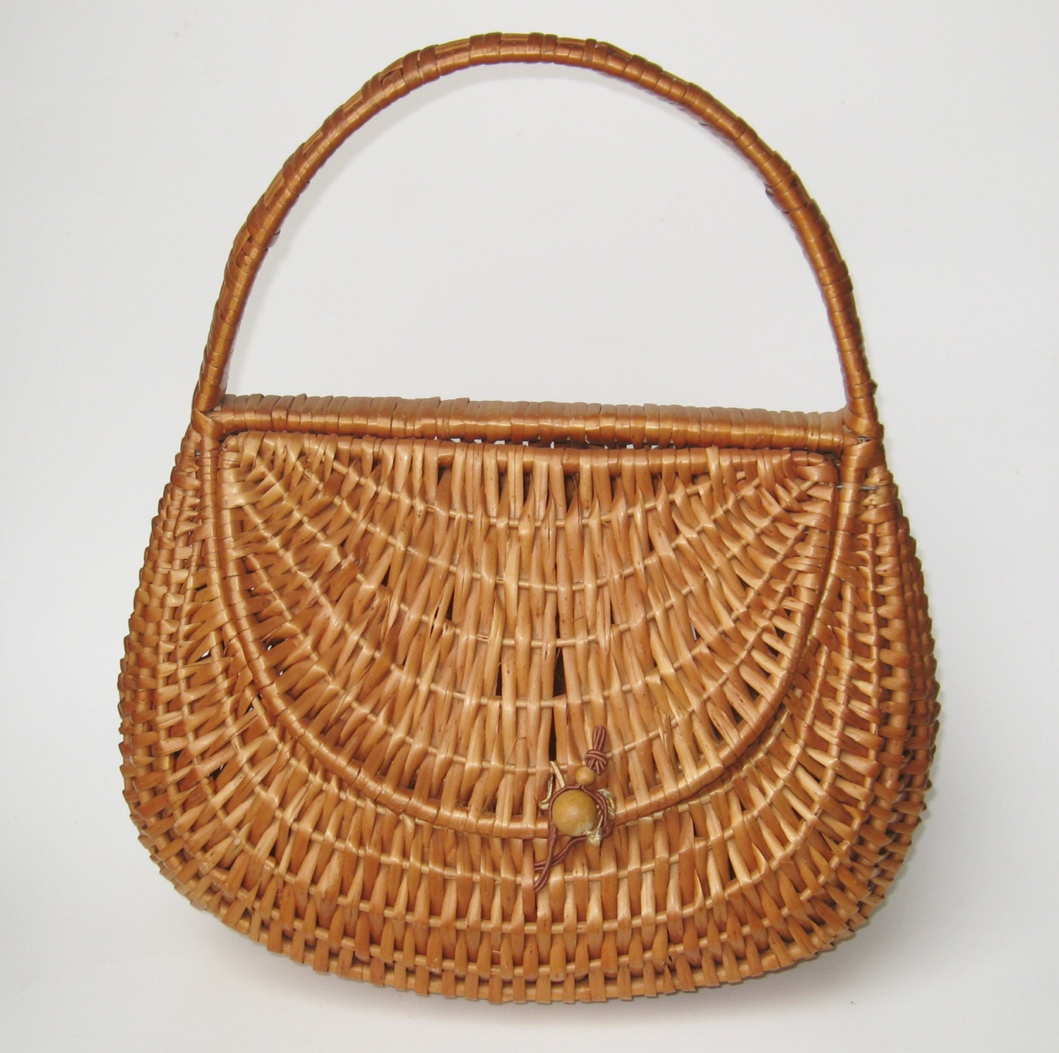 Woven Basket Purse : Vintage s afternoon picnic woven wicker basket purse hand