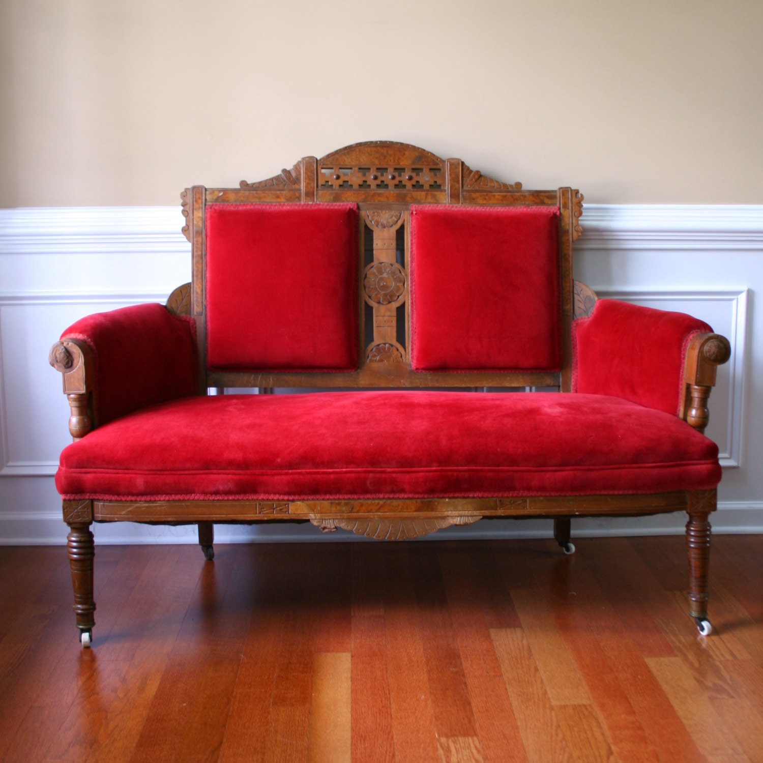 Vintage eastlake sofa antique settee love seat red couch Red sofas and loveseats