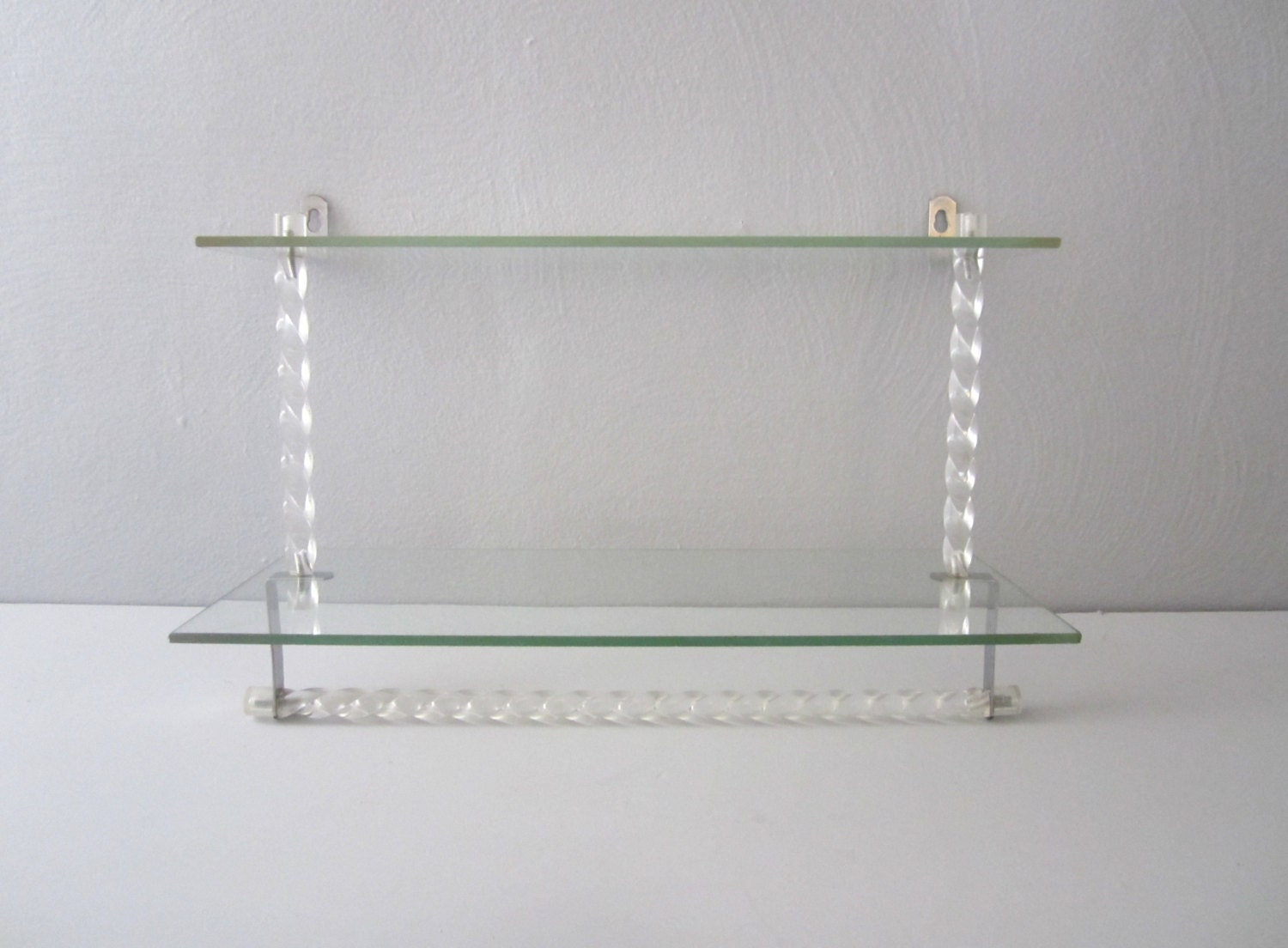 vintage lucite and glass shelf with towel bar. Black Bedroom Furniture Sets. Home Design Ideas